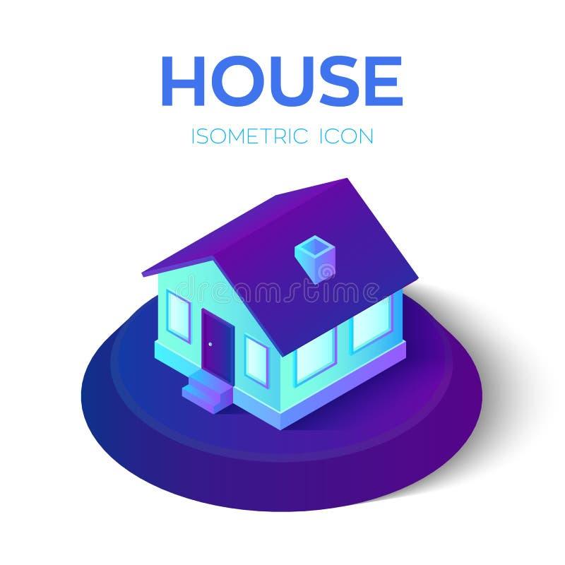 Casa ícone isométrico da casa 3D Bens imobiliários, aluguel, família e conceito da casa Criado para o m?bil, Web, decora??o, apli ilustração royalty free