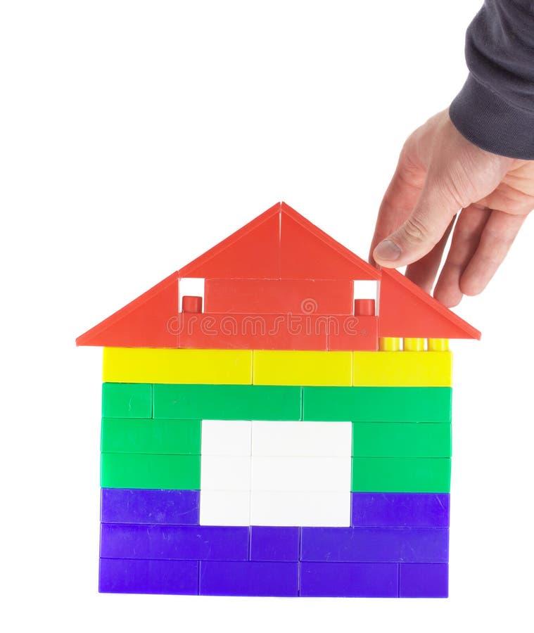 Casa 2 del giocattolo della costruzione fotografia stock