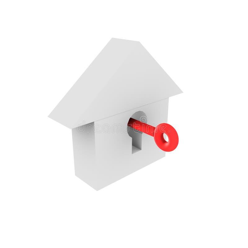 Casa 3d chave isolada ilustração royalty free