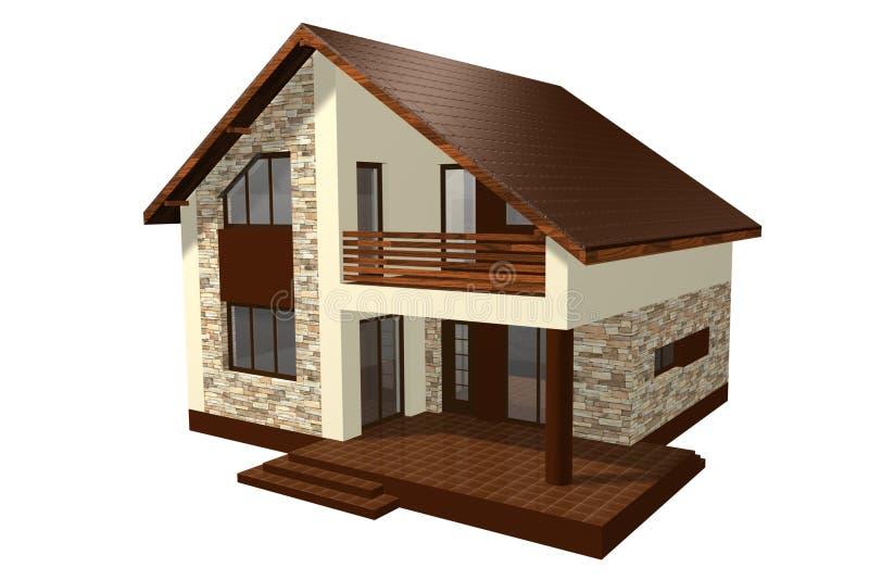 A casa 3D da família rende ilustração royalty free