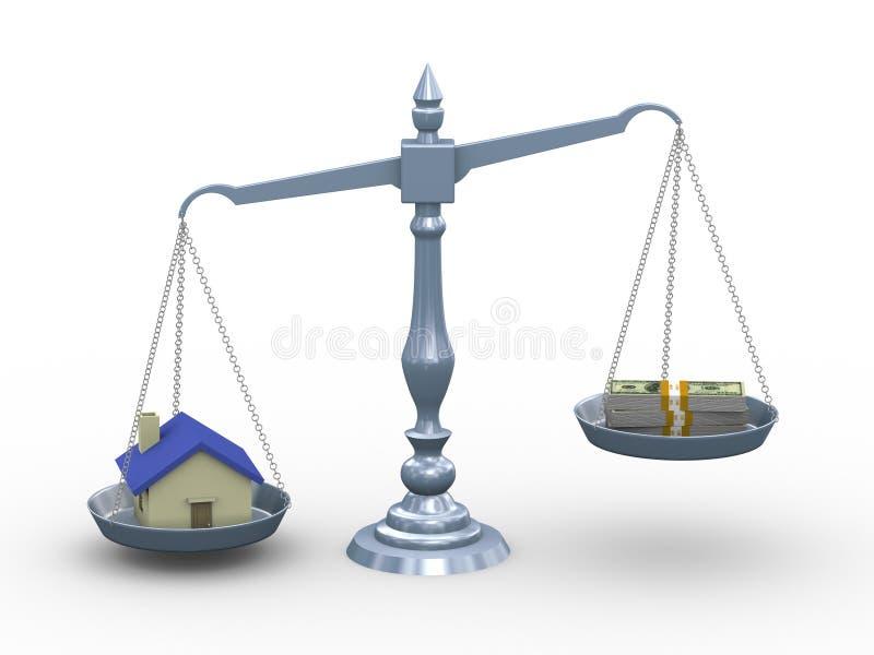 casa 3d e dinheiro na escala ilustração royalty free