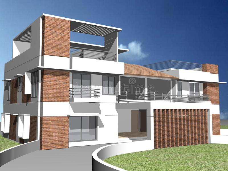 casa 3d frente e verso fotografia de stock