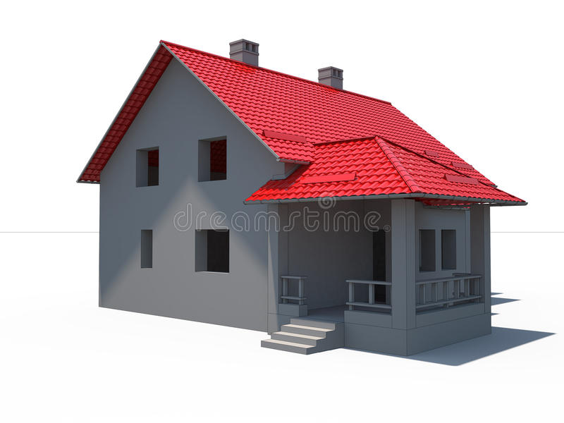 casa 3d no branco com telhado vermelho ilustração stock