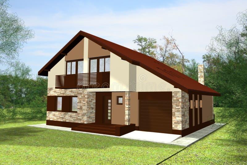 A casa 3D rende ilustração do vetor