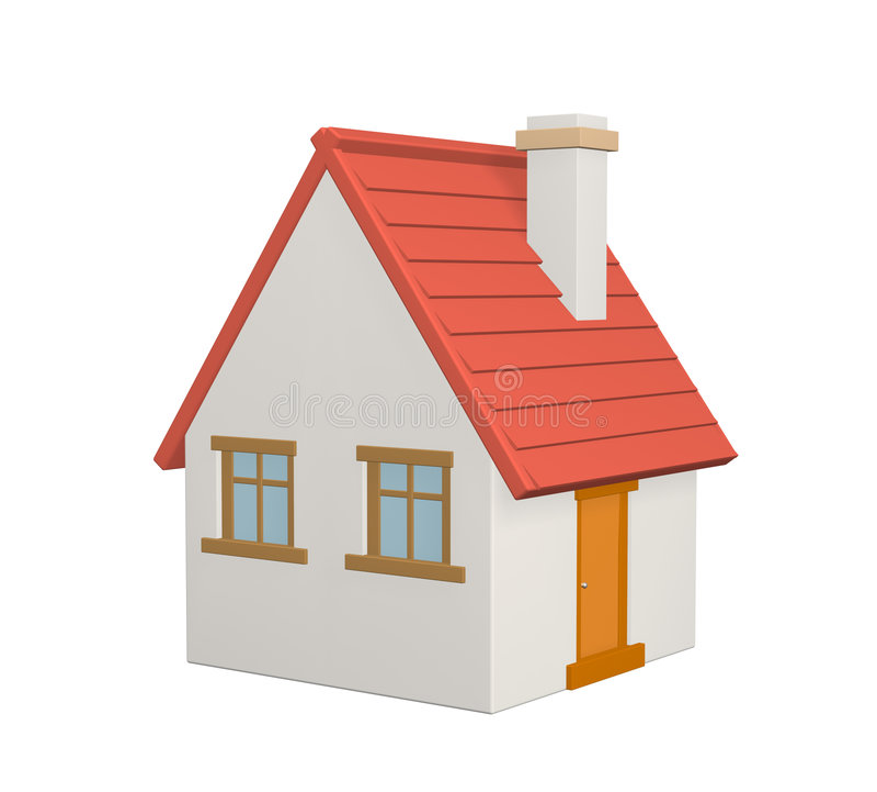 A casa 3d rural com um telhado vermelho ilustração do vetor