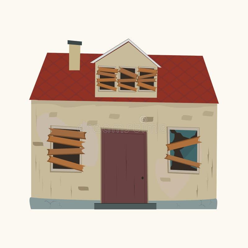 Casa abandonada Projeto liso ilustração do vetor