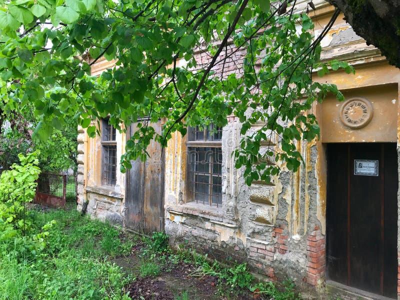 Casa abandonada velha na vila s?rvio Ao sudeste da S?rvia foto de stock royalty free