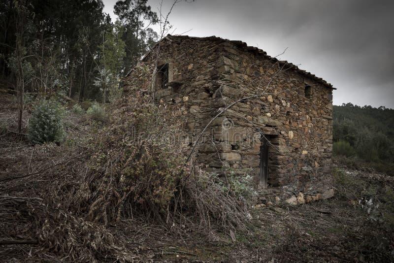 Casa abandonada velha nas madeiras imagens de stock royalty free