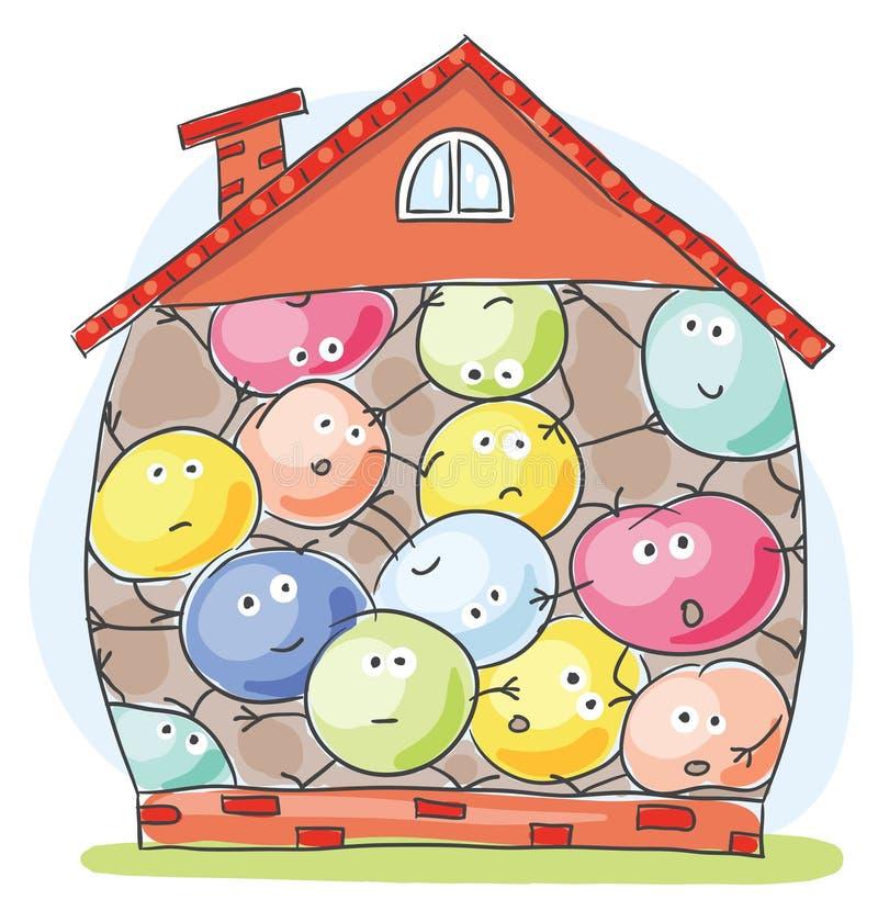 Casa abarrotado por habitantes infelizes ilustração do vetor