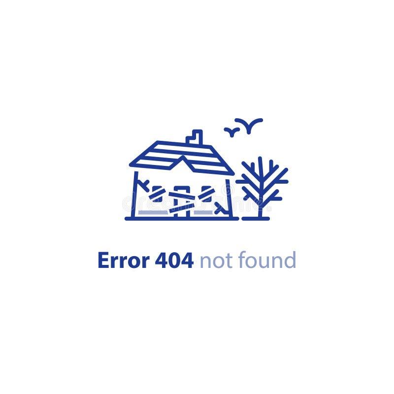 Casa abbandonata, posto spettrale, costruzione dilapidata, messaggio non trovato della pagina di errore 404 illustrazione vettoriale