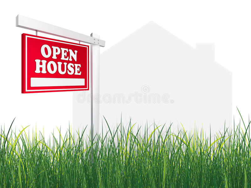 Casa abierta del ? de la muestra de las propiedades inmobiliarias fotografía de archivo libre de regalías