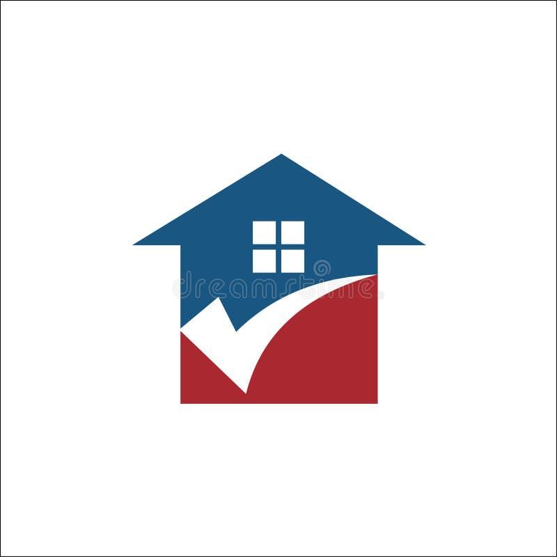 Casa abstracta, hogar con la señal Logo Design Vector Template libre illustration