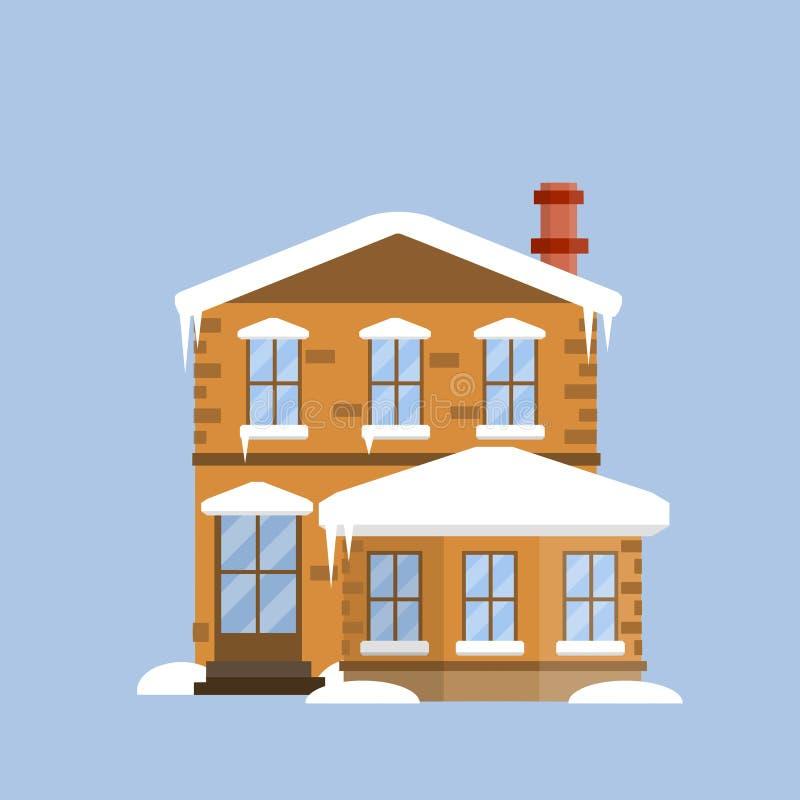 Casa acolhedor suburbana Ilustração lisa dos desenhos animados ilustração do vetor
