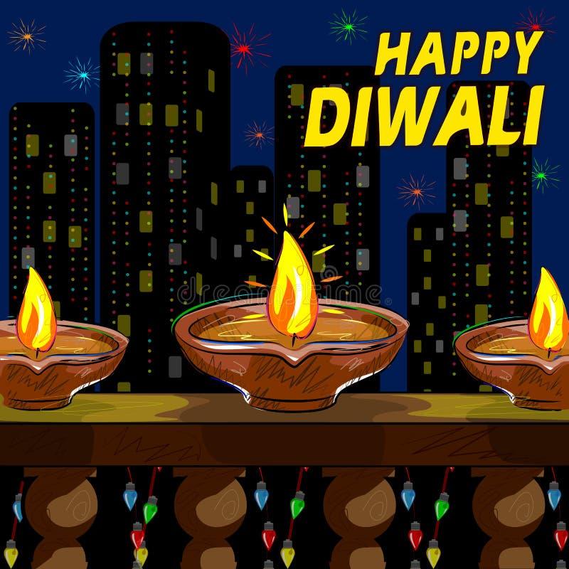 Casa adornada con el diya para Diwali ilustración del vector