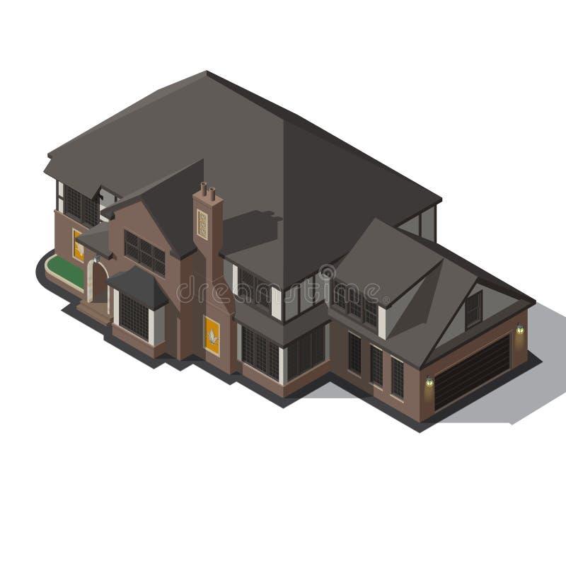 Casa adornada en marco de entramado de madera del estilo ilustración del vector