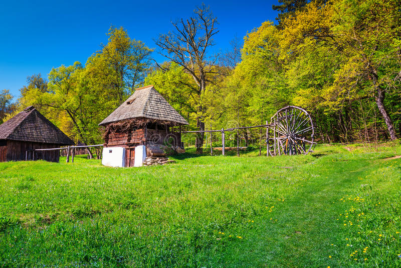 Casa agricola tradizionale, museo del villaggio di Astra Ethnographic, Sibiu, Romania, Europa immagine stock libera da diritti