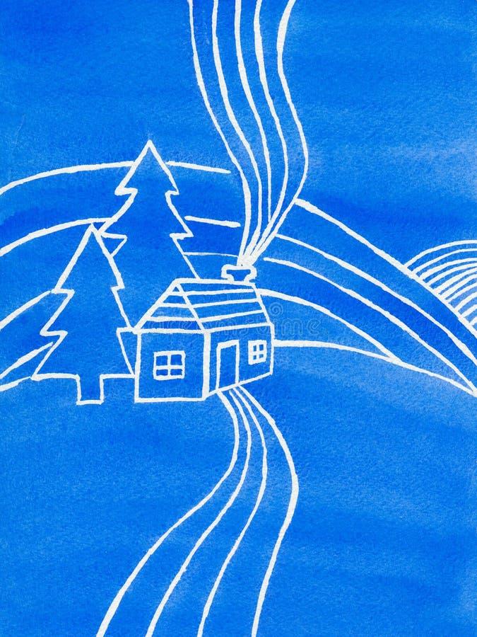 Casa, alberi e colline blu, illustrazione dell'acquerello fotografia stock libera da diritti