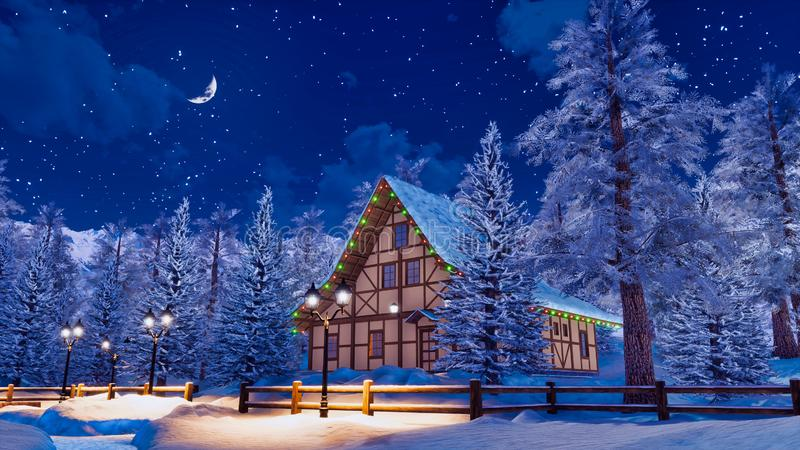 Casa alpina nevada de la montaña en la noche del invierno stock de ilustración
