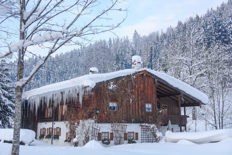 Casa alpina sitiada por la nieve II foto de archivo
