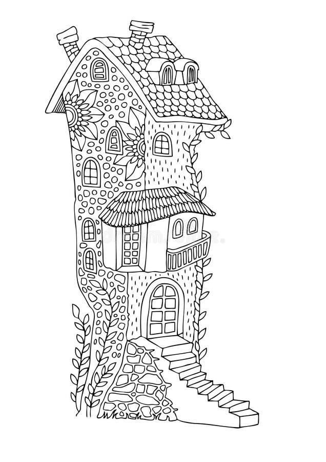 Casa alta do conto de fadas com um terraço foto de stock royalty free