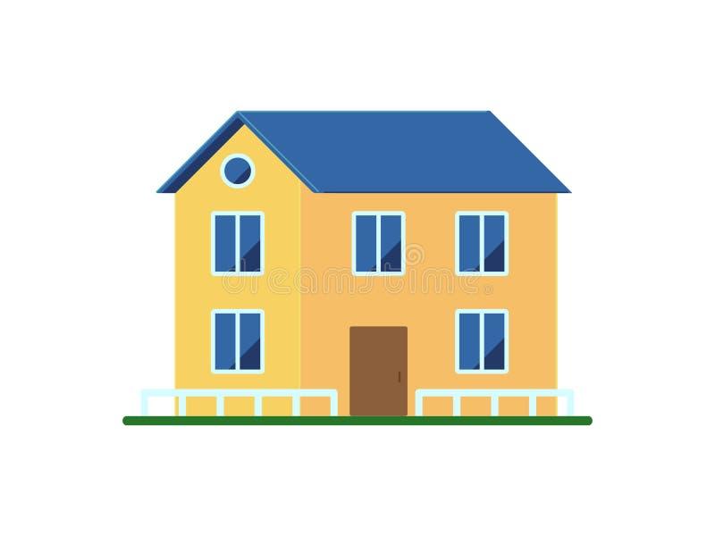 Casa amarela com uma cerca em um fundo branco no estilo liso ícone ilustração royalty free