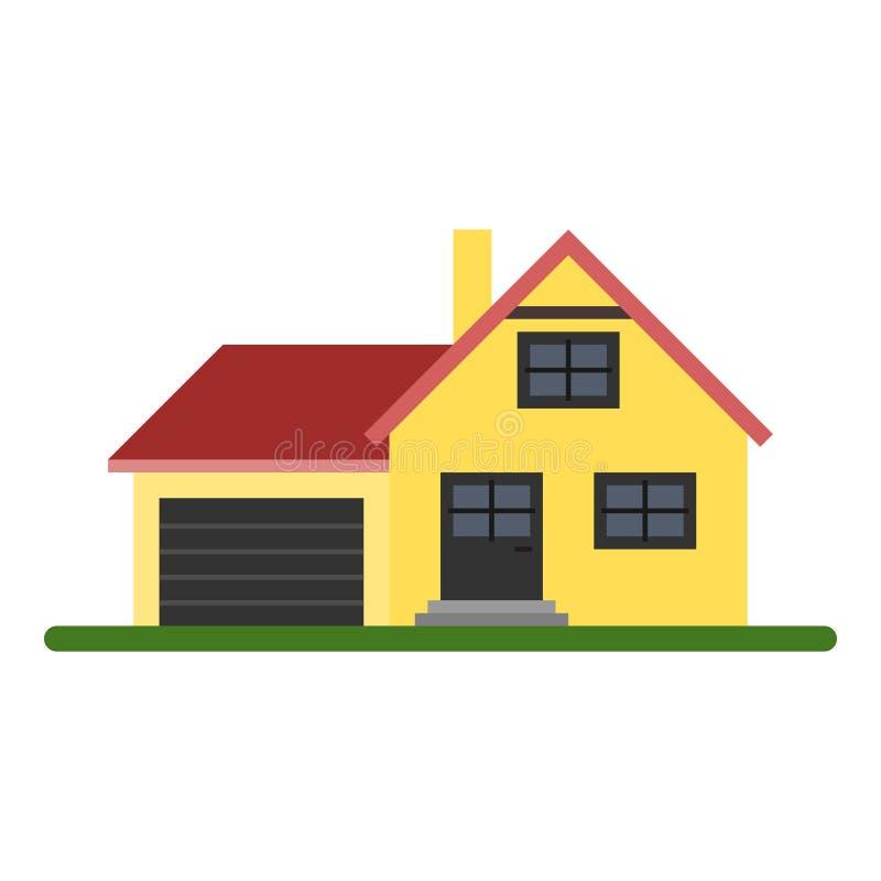 Casa amarilla de la familia stock de ilustración