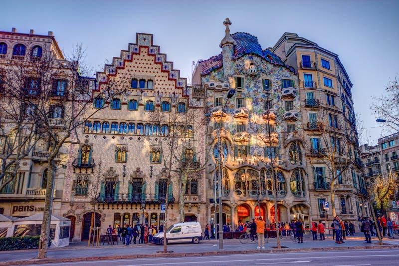Casa Amatller (deixado) e casa Batllo em Barcelona fotos de stock royalty free