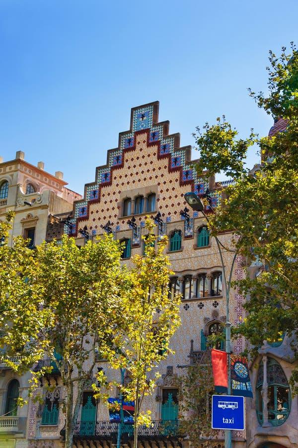 Casa Amatller w bloku niesnaski w Eixample w Barcelona obrazy stock