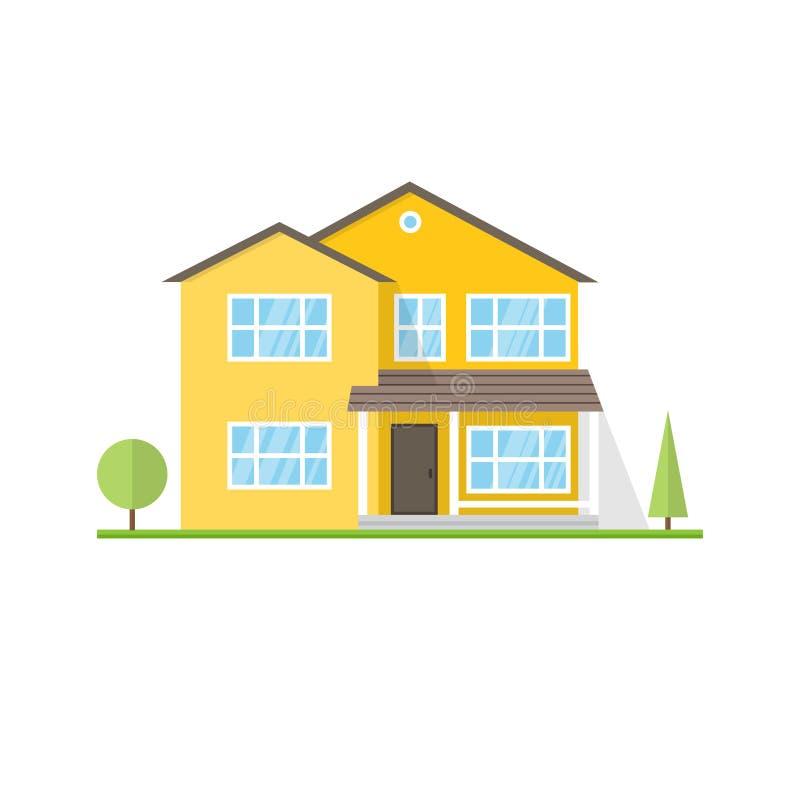 Download Casa Americana Suburbana Do ícone Liso Do Vetor Ilustração do Vetor - Ilustração de elemento, home: 80101467