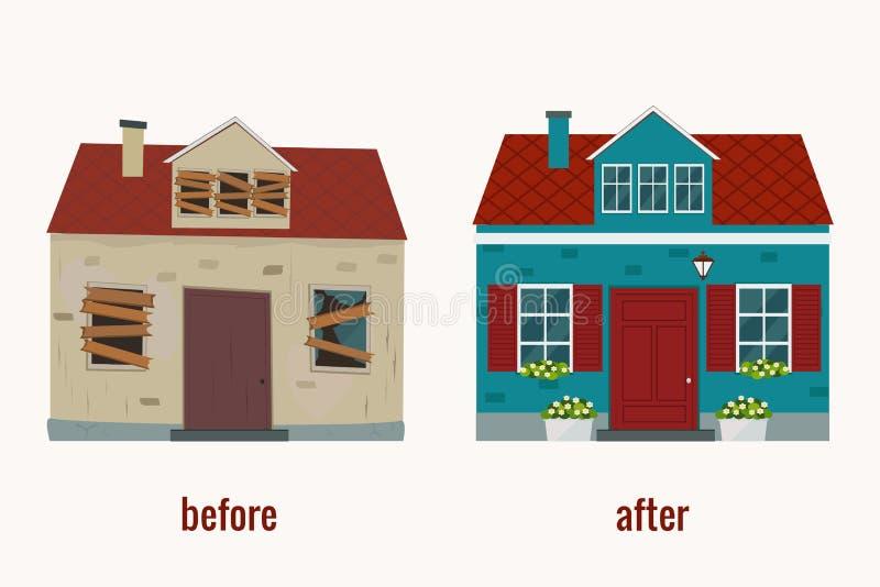 Casa antes e depois da ilustração do vetor do reparo Projeto liso ilustração royalty free