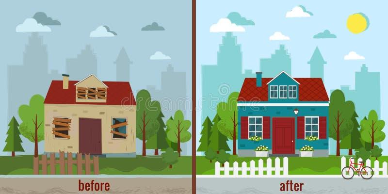 Casa antes e depois da ilustração do vetor do reparo Projeto liso ilustração do vetor