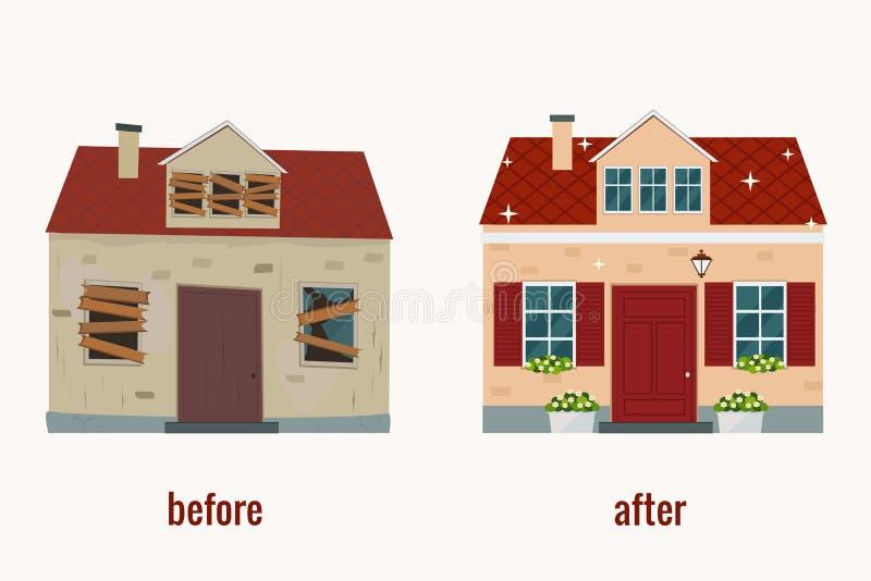 Casa antes e depois da ilustração do vetor do reparo Projeto liso ilustração stock