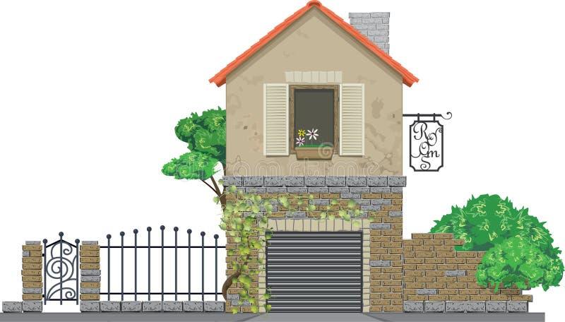 Casa antica rurale con il garage royalty illustrazione gratis