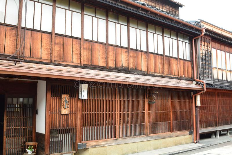 Casa antigua del geisha en distrito del Chaya de Higashi Kanazawa Chubu jap?n imagen de archivo