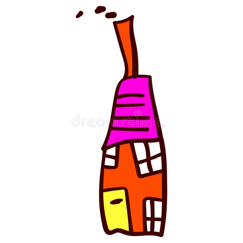 Casa ao estilo dos desenhos das crianças ilustração do vetor