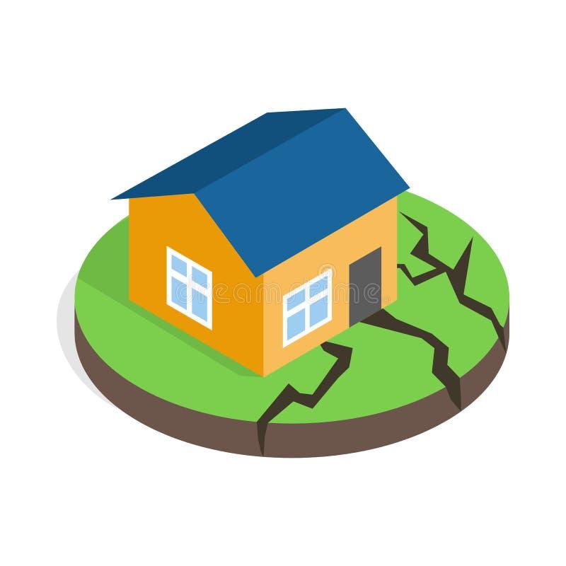 Casa após um ícone do terremoto, estilo 3d isométrico ilustração do vetor