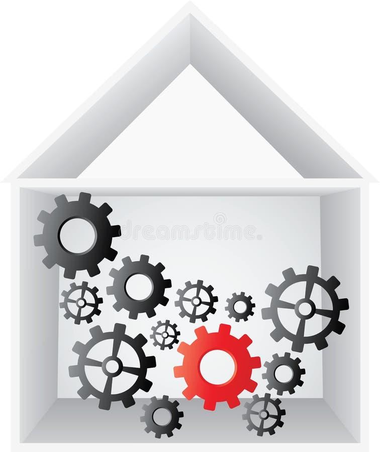Casa aperta con gli attrezzi all'interno illustrazione di stock