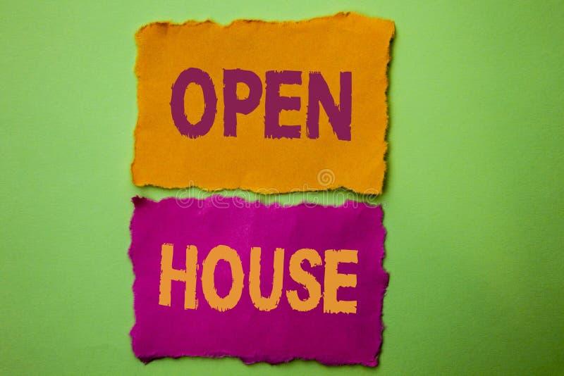 Casa aperta del testo della scrittura Appartamento esteriore interno residenziale della costruzione della proprietà della casa di fotografie stock
