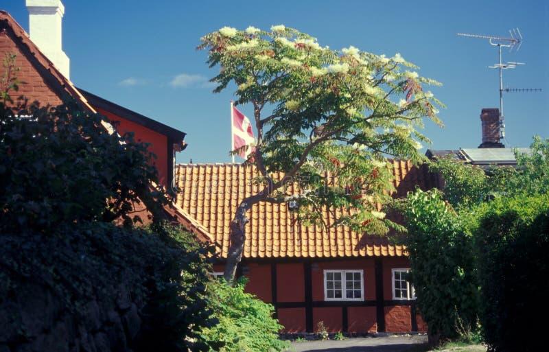 Casa armata in legno rossa danese con la bandiera nazionale, Bornholm in Danimarca fotografia stock libera da diritti