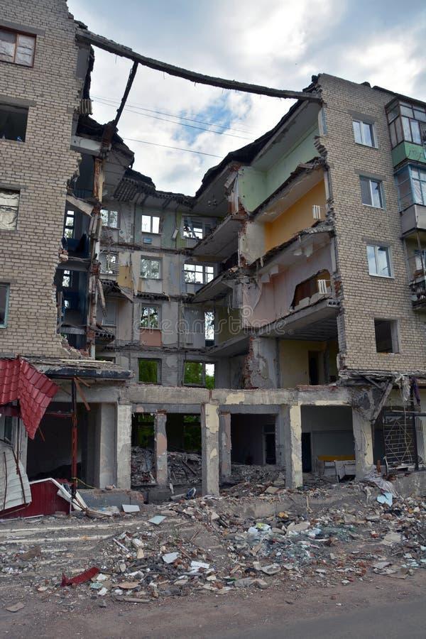 Casa arruinada en Slovyansk, Ucrania imágenes de archivo libres de regalías
