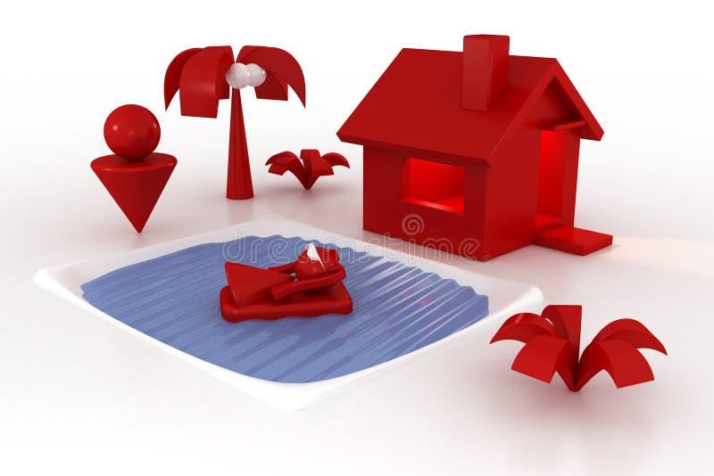 Casa, associação e família ilustração stock