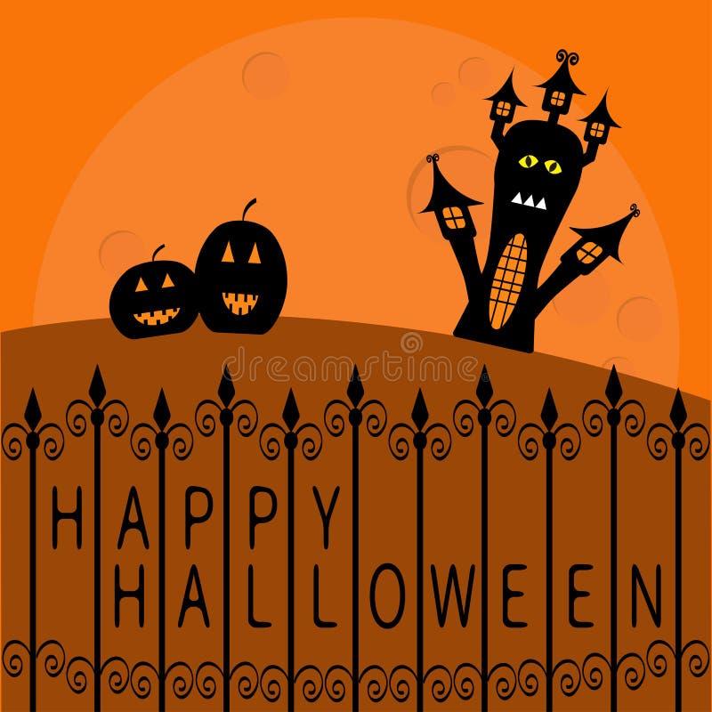 Casa assombrada, abóboras e lua grande Cerca do ferro feito Cartão feliz de Halloween Projeto liso Fundo alaranjado ilustração royalty free