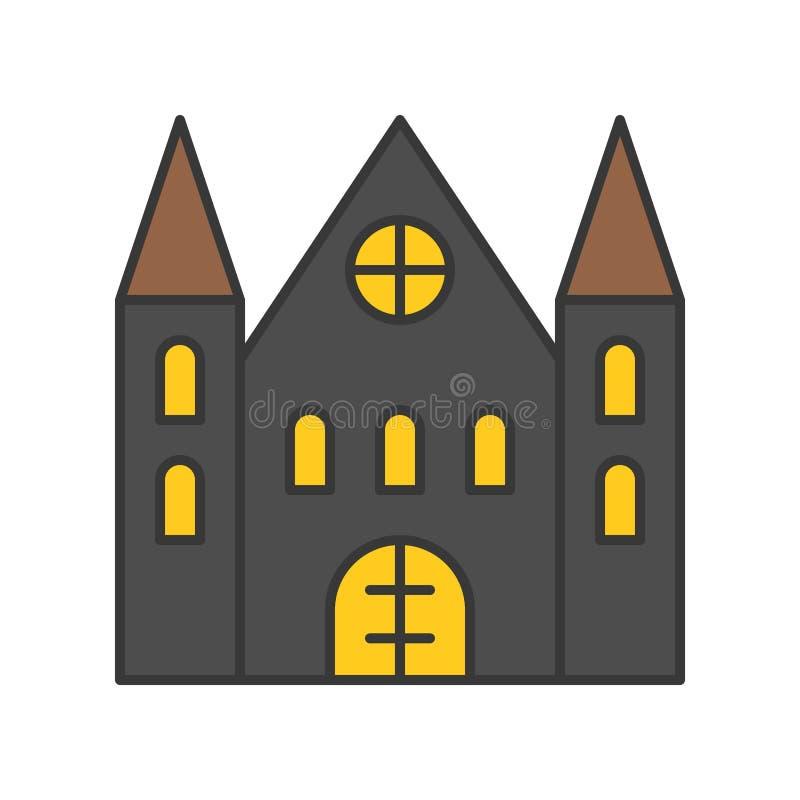 A casa assombrada, Dia das Bruxas relacionou o ícone, encheu o projeto o IDE do esboço ilustração stock