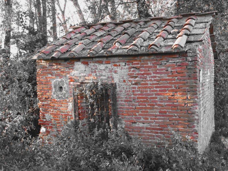 Casa assombrada do horror Casa assombrada velha nas madeiras com espírito maus foto de stock royalty free