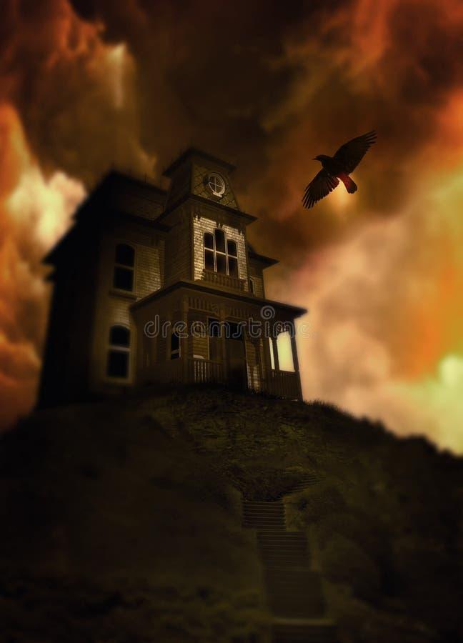 Casa assombrada em um monte ilustração stock