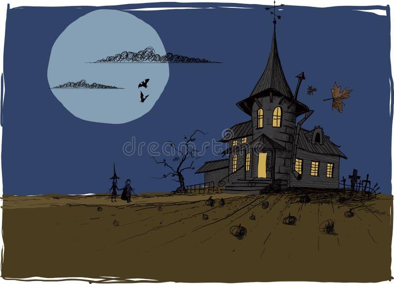 Casa assustador de Dia das Bruxas ilustração do vetor