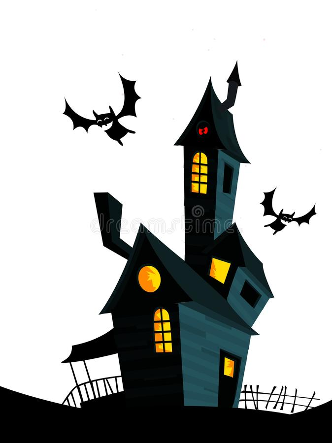 Casa assustador no fundo da noite com uma Lua cheia atrás Vector o fundo de Dia das Bruxas com casa e o cemitério assombrados ilustração royalty free