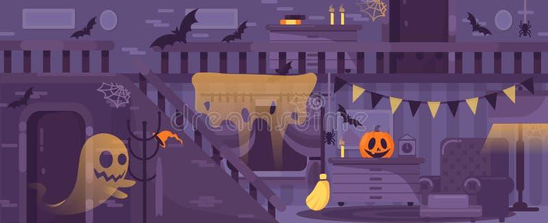 Casa assustador, velha do vetor roxo com fantasmas, sala interior da ilustração com símbolos do Dia das Bruxas e aranhas ilustração do vetor