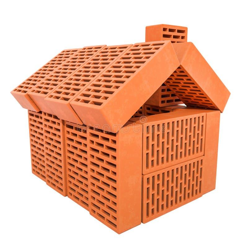 Casa astratta dai mattoni della costruzione, rappresentazione 3D illustrazione vettoriale