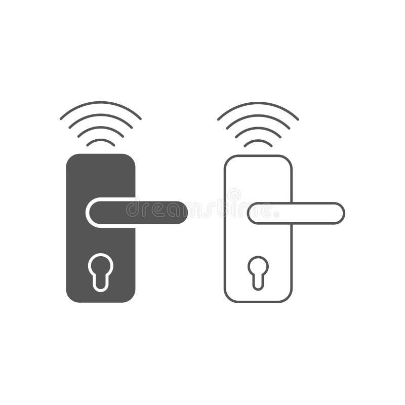 Casa astuta, icona senza fili di vettore della serratura di porta, sistema astuto della serratura Illustrazione piana moderna e s illustrazione vettoriale